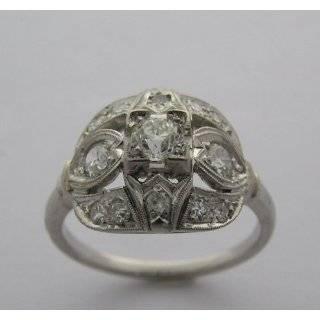 Antique Art Deco Platinum Mine Cut Diamond Ring Jewelry