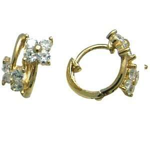Flowering Glamour 14K Yellow Gold Huggie Earrings Jewelry
