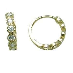 CZ Allure Thin Band 14K Yellow Gold Huggie Earrings Jewelry