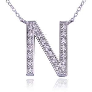 Sterling Silver Cubic Zirconia N Initial Pendant, 18 Jewelry