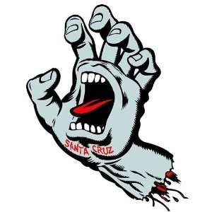 SANTA CRUZ Screaming Hand Sticker Silver 6 inch Kitchen