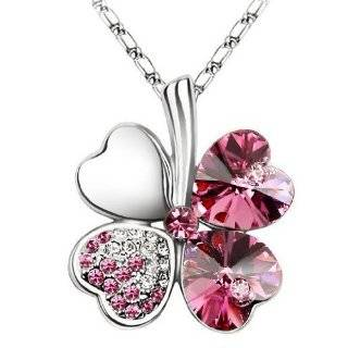 Crystal Four Leaf Clover Pendant Necklace 19 CN9034B Jewelry