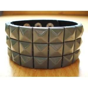 Grey Checkered Studded Leather Bracelet