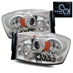 06 08 Dodge Ram LED CCFL Halo Projector Headlights