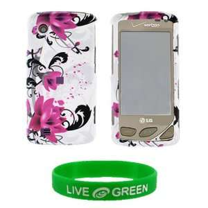 White with Red Flower Design Snap On Hard Case for LG Chocolate Touch