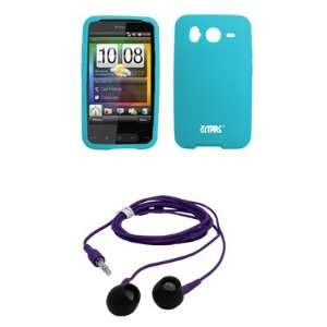 EMPIRE Light Blue Silicone Skin Cover Case + Purple 3.5mm