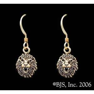 Lion Earrings, 14k Yellow Gold, 14k Yellow Gold Ear Wires, Cat Animal
