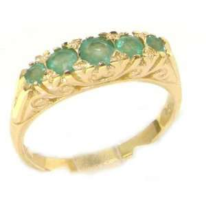 Luxury 9K Yellow Gold Womens Carved Emerald Eternity Ring