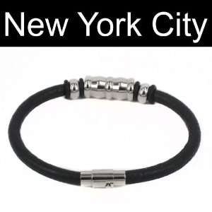 Leather Bracelet Wristband Cuff Stainless Steel Magnetic Lock B0073BLK