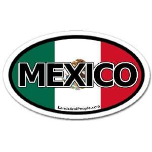 Mexico and Mexican Flag Car Bumper Sticker Decal Oval