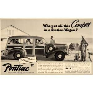 1940 Ad General Motors Pontiac Station Wagon Car Beach