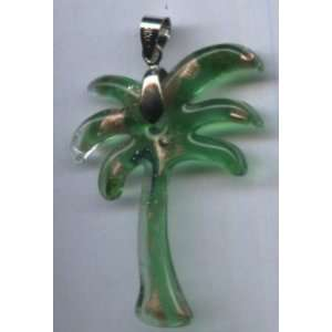 Murano Glass Lampwork Pendant  Green and Gold Palm Tree