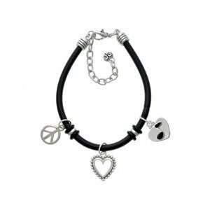 Music Note in Heart Black Peace Love Charm Bracelet Arts