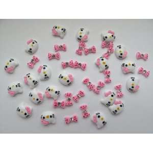 Nail Art 3d 40 Pieces Rose Hello Kitty/Bow /Rhinestone for Nails