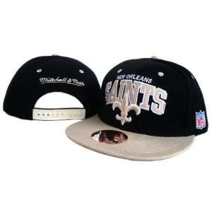New Orleans Saints NFL Mitchell & Ness Black White Snapback Hats