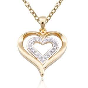 Silver Pearl and Diamond Accent Double Heart Pendant, 18 Jewelry