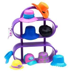 Polly Pocket ! Just Accessories and Display Case  High Styling Hats