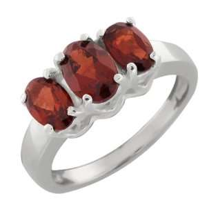 2.30 Ct 3 Stone Red Garnet .925 Sterling Silver Ring Jewelry