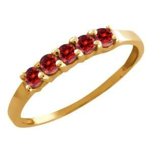 Ct Round Cognac Red Diamond Gold Plated Sterling Silver Ring Jewelry