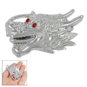 Car Silver Tone Alloy Dragon Red Eye Rhinestone Sticker: Automotive