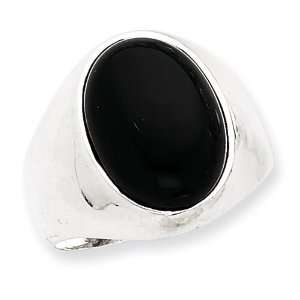 Sterling Silver Oval Black Stone Mens Ring   Size 11