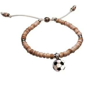 Adjustable Bracelet   Enamel Soccer Ball Charm