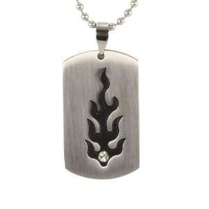 Stainless Steel Cubic Zirconia & Flame Design Dog Tag Pendant Necklace