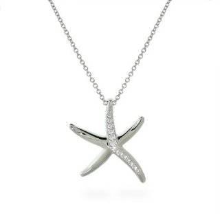 Two tone Crystal Starfish Pendant Necklace Fashion Jewelry Jewelry