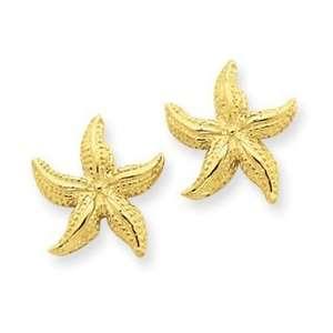 14k Yellow Gold Starfish Earrings Jewelry