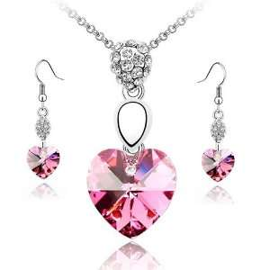 Rose Pink Crystal Heart Earrings & Pendant Set Used Swarovski