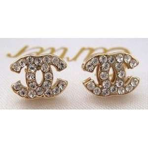 Designer Inspired CC double C STUD all Swarovski Crystal Earrings,gold
