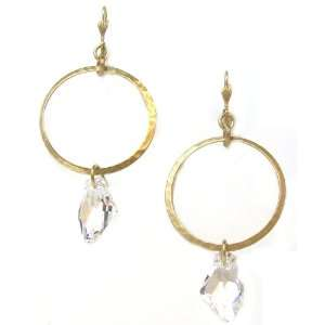 Hoop Earrings with Clear Abstract Swarovski Crystal Dangles Jewelry