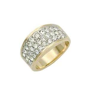 Pave Clear Swarovski.Crystal Two Tone Ring, Size 5 12 Jewelry