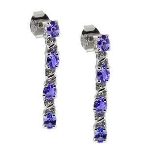24 Ct Vs Oval Genuine Tanzanite Sterling Silver Earrings New Jewelry