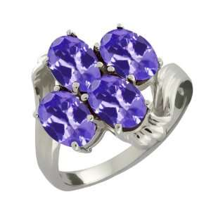 3.00 Ct Oval Blue Tanzanite Sterling Silver Ring Jewelry