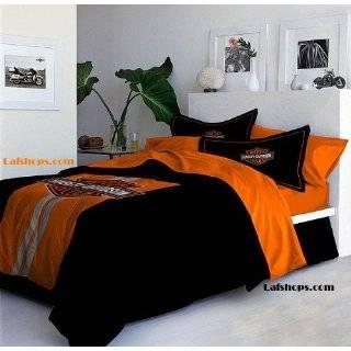 Black Orange Flame Harley Davidson Full Queen Comforter
