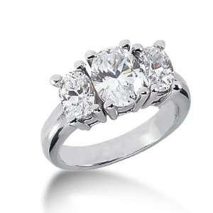 3.5 Ct Diamond Engagement Ring Oval Prong Three Stone 14k