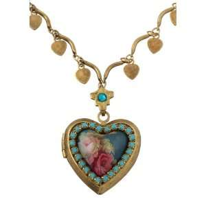 Turquoise Swarovski Crystals; Multiple Heart Charms Necklace; Vintage
