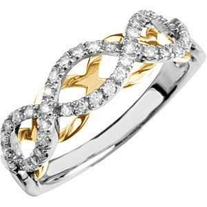 Unique Two Tone 14k White and Yellow Gold Diamond Ring With a Woven