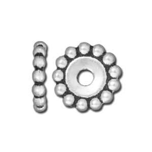 12mm Antique Silver Beaded Large Hole Spacer by TierraCast