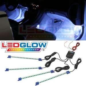 4pc. White LED Interior Underdash Lighting Kit Automotive