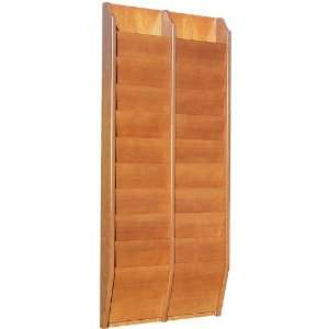 Wood Magazine Literature Wall Mount Rack/Display Office Products