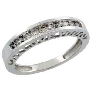 10k White Gold Ladies Diamond Ring Band w/ 0.32 Carat Brilliant Cut