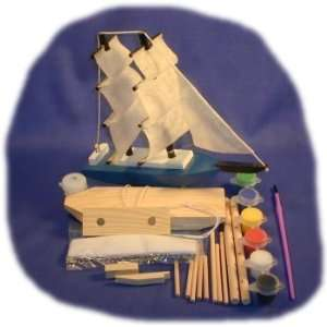 Tallship Wood Craft Kit with Paint, Glue and Brush: Toys