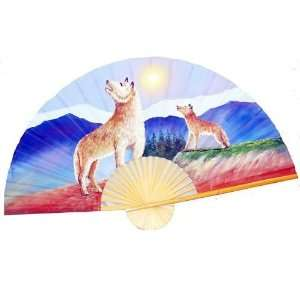 Hand Painted Fan of Two Wolves 35 Home & Kitchen
