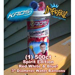 500 Rare Spirit Colored Red White and Blue Water Balloons Fun Kit with