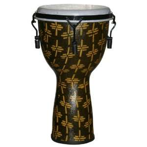 African Gold Fiberglass Mechanically Tuned Djembe w/ 10