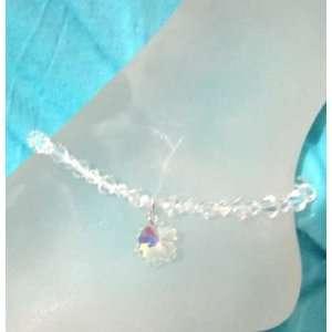 Bridal Wedding Ankle Bracelet  flower Swarovski Crystals