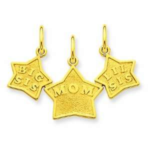 Solid Engraveable Big Sis/Mom/Lil Sis 3 Piece Break Apart Stars Charm