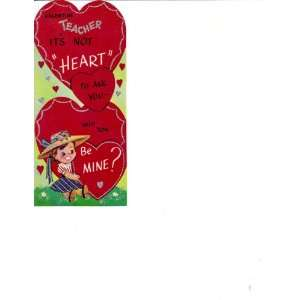 Vintage Valentine Card Teacher Its Not Heart To Ask